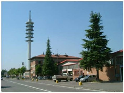 Cylindrical tower project for telecommunication in Modena